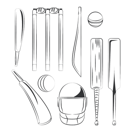 Set of cricket equipment icons vector illustration graphic design