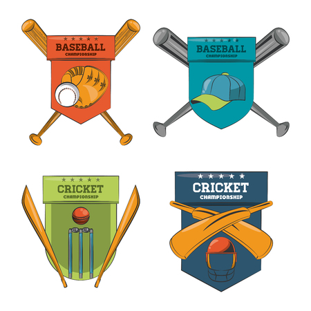 Set of Cricket and baseball emblems collection vector illustration graphic design