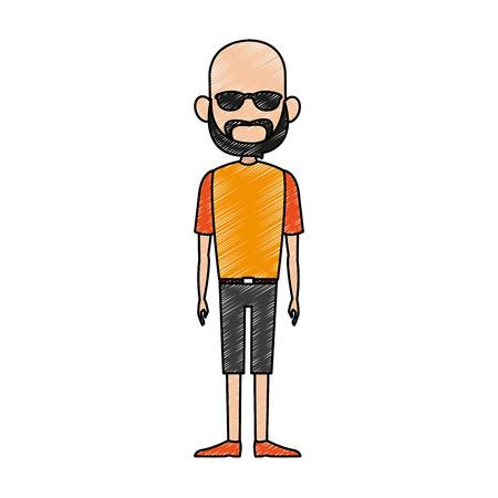 Homme avec lunettes de soleil et barbe dessin animé illustration vectorielle design graphique