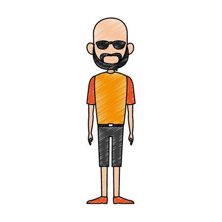 Man with sunglasses and beard cartoon isolated vector illustration graphic design Illustration