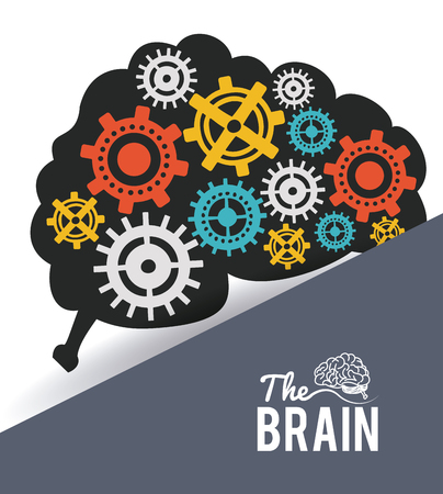 The brain with gears inside vector illustration graphic design Illustration