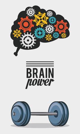 Poder del cerebro con engranajes y diseño gráfico de ilustración de vector de peso