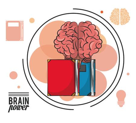 Brain power and books vector illustration graphic design Illustration