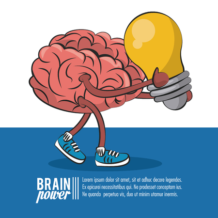 Brain power poster template with information vector illustration graphic design Illustration