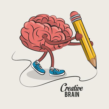 Cerebro lindo y divertido con diseño gráfico del ejemplo del vector de la historieta del lápiz