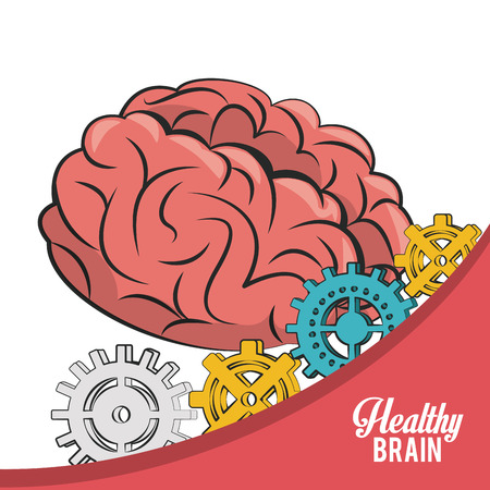Brain power and gears vector illustration graphic design