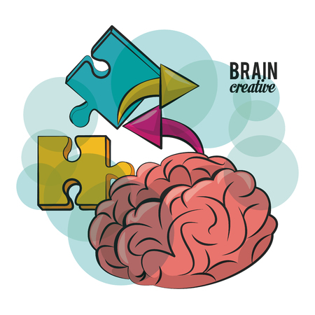 Brain creative and jigsaw pieces vector illustration graphic design
