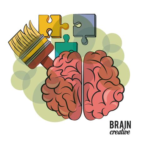 Cerebro creativo con piezas de rompecabezas y diseño gráfico de ilustración de vector de pincel