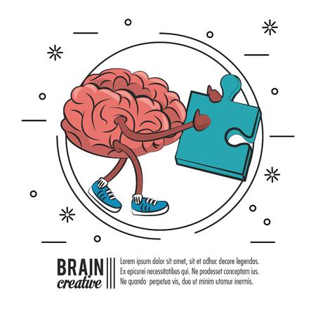 Plantilla de cartel creativo de cerebro con diseño gráfico de ilustración de vector de información