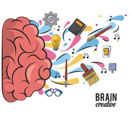 Cerebro creativo con útiles escolares diseño gráfico de ilustración vectorial Ilustración de vector