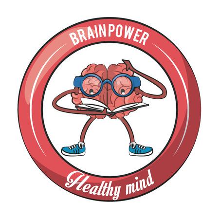 Brainpower healthy round emblem label cartoons vector illustration graphic design