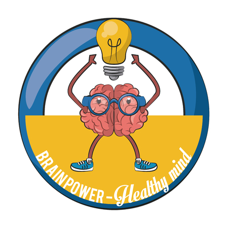 Brainpower healthy round emblem label cartoons vector illustration graphic design Vetores
