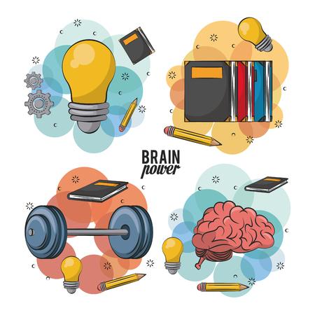 Diseño gráfico del ejemplo del vector de los iconos del cerebro humano