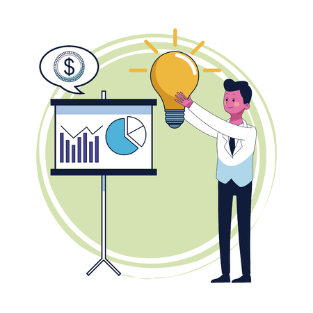 Businessman with big idea and whiteboard vector illustration graphic design Illustration