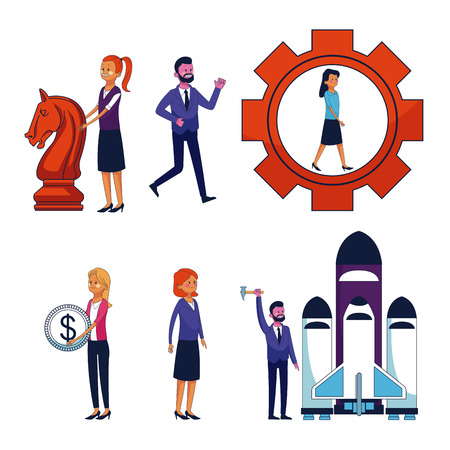 Set of business people and office icons vector illustration graphic design Illustration