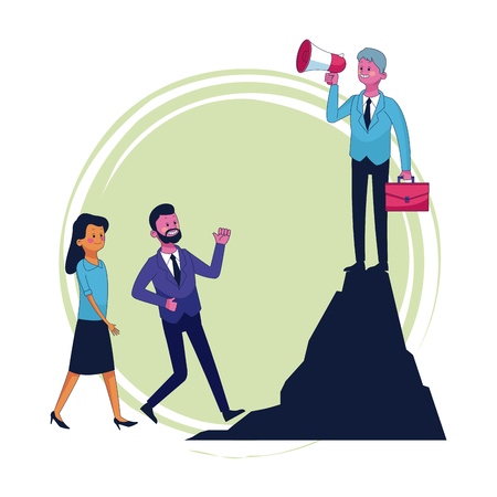 Businessman on mountain peak with bullhorn vector illustration graphic design Illustration