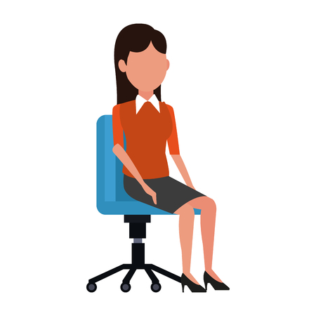 Business woman seated at chair vector illustration graphic design