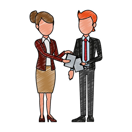 Business teamwork with documents vector illustration graphic design
