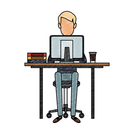 Young man working with computer at desk vector illustration graphic design Çizim
