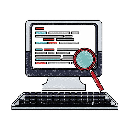 Magnifying glass searching computer vector illustration graphic design