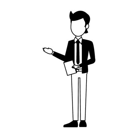 Businessman with document vector illustration graphic design Illustration