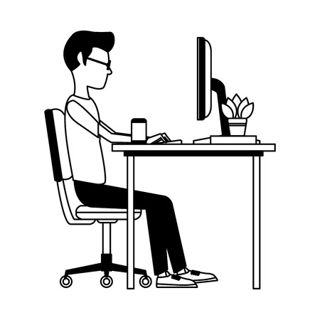 Young man working with computer at desk vector illustration graphic design Ilustração
