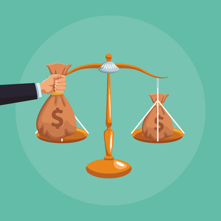 Money bags in justice balance with hand vector illustration graphic design