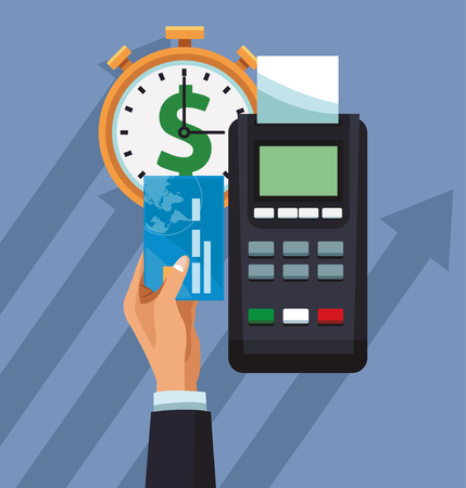 Hand using dataphone to pay with credit card vector illustration graphic design