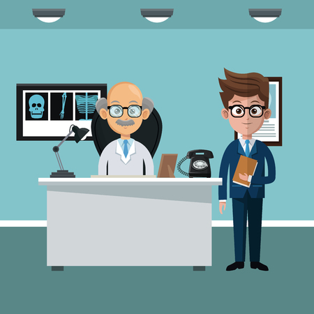 Businessman and doctor in office cartoons vector illustration graphic design  イラスト・ベクター素材