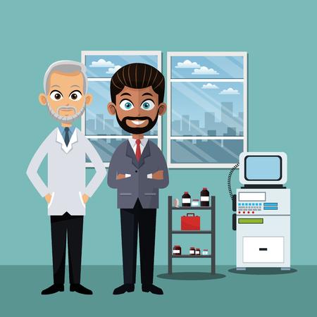 Homme d'affaires et médecin en dessin animé de bureau vector illustration graphisme Vecteurs