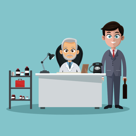 Businessman and doctor in office cartoons vector illustration graphic design Çizim