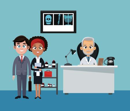 Zakenman en arts in vector de illustratie grafisch ontwerp van bureaubeeldverhalen