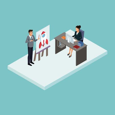 Executives at business meeting isometric concept vector illustration graphic design Illustration