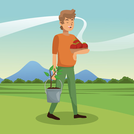 Young man with tomato harvest vector illustration graphic design Illustration