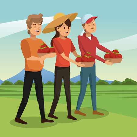 Farmers family with tomato harvest vector illustration graphic design Vectores
