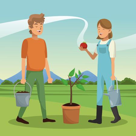Jeune couple avec la récolte de tomates vector illustration graphic design