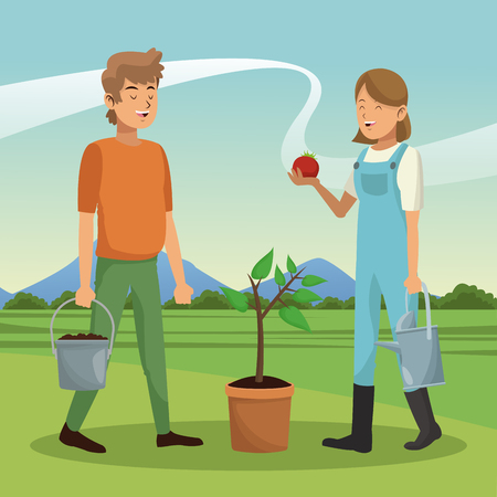 Young couple with tomato harvest vector illustration graphic design