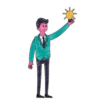 Busimessman with bulb symbol vector illustration graphic design Illustration