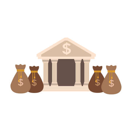 Bank building with money bags vector illustration graphic design Vector Illustration