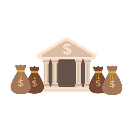 Edificio del banco con bolsas de dinero, diseño gráfico de ilustración vectorial Ilustración de vector