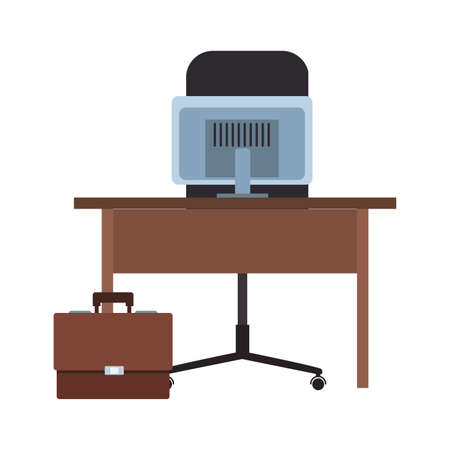 Desk with computer and briefcase vector illustration graphic design 矢量图像