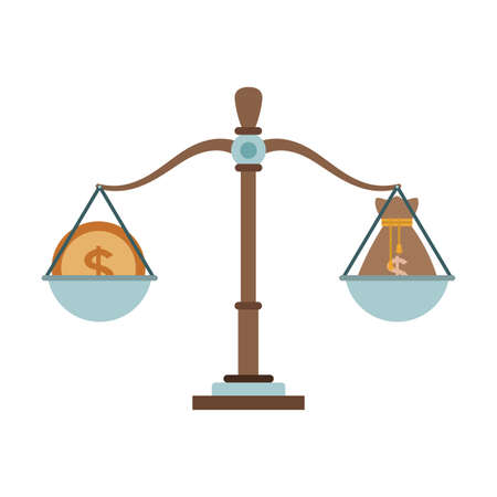 Antique balance with money vector illustration graphic design Vector Illustration