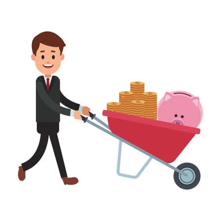 Businessman pushing wheelbarrow with money vector illustration graphic design