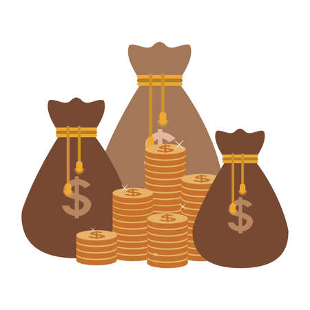 Money bags and coins stacked vector illustration graphic design