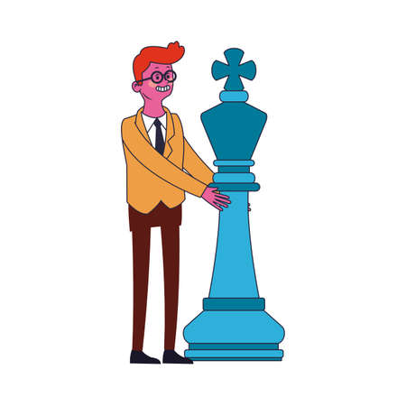 Businessman with chess piece vector illustration graphic design