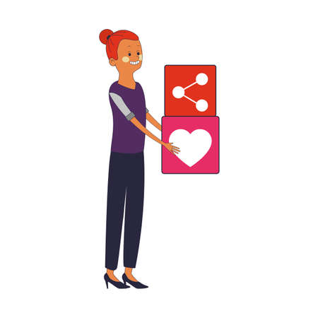 Woman with heart symbol vector illustration graphic design