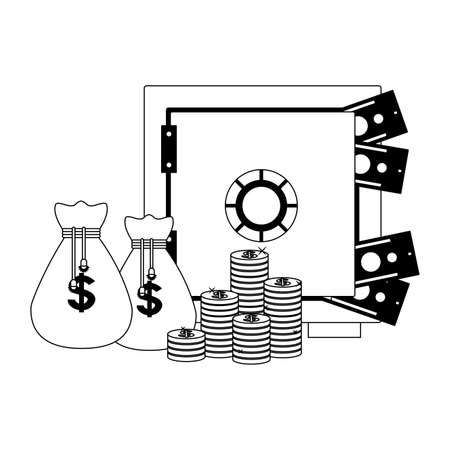 Money inside strongbox isolated vector illustration graphic design