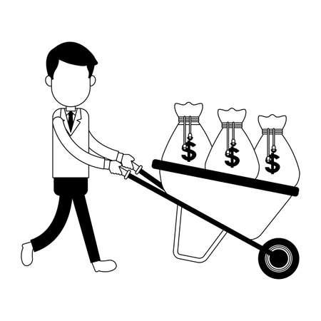 Businessman pushing wheelbarrow with money cartoon vector illustration graphic design Vetores