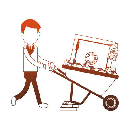 Businessman pushing wheelbarrow with strongbox vector illustration graphic design