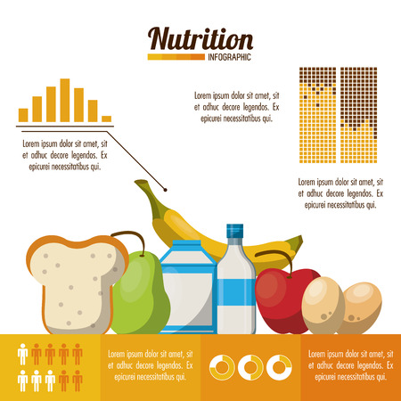 Nutrition and food infographic with statistics and elements vector illustration graphic design